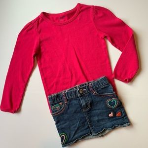 Gap 2pc long sleeve and embroidered jean skirt 5T